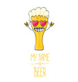 cartoon funky beer glass character with vector image
