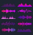 colorful sound waves collection analog vector image vector image