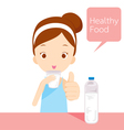 Cute girl drinking water vector image vector image