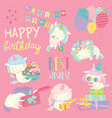 cute white cartoon unicorns with birthday theme vector image vector image