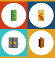 flat icon door set of entry frame lobby and vector image