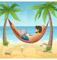 freelancer at beach vector image vector image