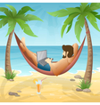 freelancer at the beach vector image vector image