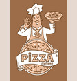 funny italian chef with pizza emblem design vector image vector image