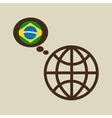 globe sphere flag brazil country button graphic vector image vector image