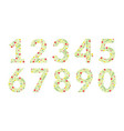green floral numbers made leaves and flowers vector image vector image
