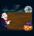 halloween dracula wooden sign vector image vector image