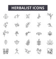 herbalist line icons signs set outline vector image