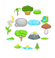 landscape icons set cartoon style vector image