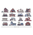 line art residential house collection set flat vector image vector image