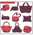 linear collection womans accessories bags and vector image