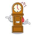 listening music grandfather clock mascot cartoon vector image