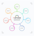 minimal style circle infographic template with 7 vector image vector image