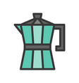 moka pot coffee related filled style editable vector image vector image
