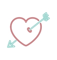 neon heart and arrow icon vector image