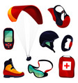 paraglide equipment sport tools set icons vector image vector image