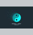 pixel art yin-yang logo vector image