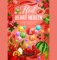 red color diet vegetables and fruits vector image vector image