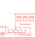 red thin line storehouse building vector image vector image