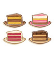 set assorted slices cake vector image
