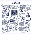 set of school stuff hand drawn vector image