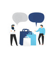 shopping men with shopping bags talking to each vector image