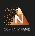 silver letter n logo symbol in the triangle shape vector image vector image