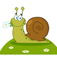 Snail With A Flower In Its Mouth On A Hill vector image vector image