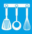 spatula ladle and whisk kitchen tools icon white vector image vector image