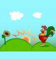 sunrise and rooster vector image vector image