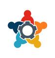 teamwork five people logo people group vector image vector image