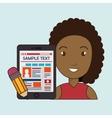 woman cartoon smartphone sample test vector image