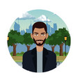 young man in the park city background vector image vector image
