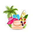 female bag with beach accessories set of travel vector image
