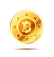 bright glossy golden coin with bitcoin sign on vector image