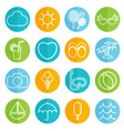 Flat icons collection in stylish colors of vector image