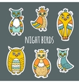 A set of night birds vector image