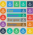 Anchor icon Set of twenty colored flat round vector image