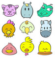 animal head funny cute doodles vector image