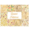 Autumnal fallen leaves seamless patterns set vector image vector image