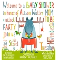 Baby Shower Invitation with Animal vector image vector image
