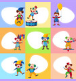 background template with funny clowns vector image vector image