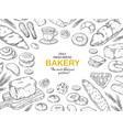 bakery frame hand drawn bread and cookies banner vector image
