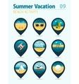 Beach activity pin map icon set Summer Vacation vector image vector image