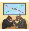 Bear and bull on the stock exchange vector image