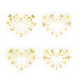 beautiful heart-fireworks set gold romantic vector image vector image