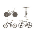 bicycle bike set cycle family transport vintage vector image vector image