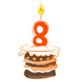 birthday cake with number eight on white vector image vector image
