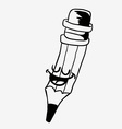 black and white happy pencil vector image vector image