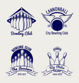 bowling club logo design sketch vector image